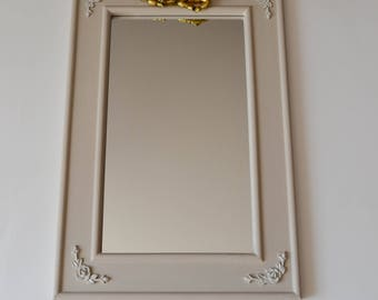 Romantic wooden mirror and two small Golden Angels