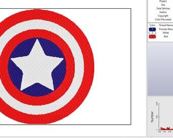 Capt. America Shield Embroidery Design