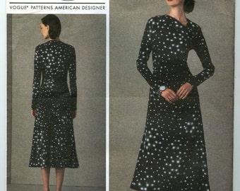 V1406 Vogue - Rachel Comey - Misses Lined Dress with Gathered sides - NEW Sewing pattern Sz. A5 6-8-10-12-14 and E5 14-16-18-20-22
