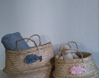 Pair of Thai basket cotton fish mother-daughter decor storage