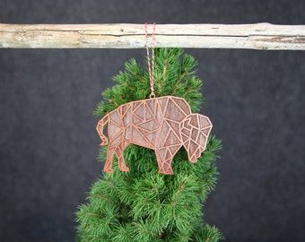 geometric christmas ornament wooden buffalo christmas ornament modern christmas ornament modern christmas decorations - Buffalo Christmas Decorations