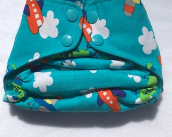 High Flying Airplanes One size pocket Cloth Diaper