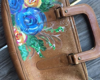 Hand painted, vintage leather purse/clutch