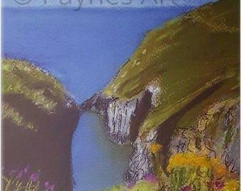 Skrinkle Bay Pembrokeshire Giclee Pastel Print Beach Landscape Sea Summer Welsh Wall Art Gift Painting Seascape Christmas Gift