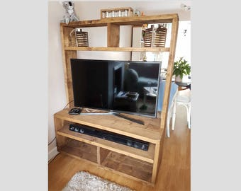 Large Bespoke Rustic Tv Unit Tv Stand Room Divider Handmade From Scaffold Boards