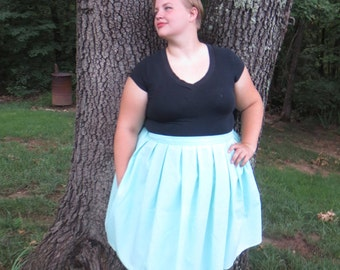 Aqua Pleated Skirt with Pockets