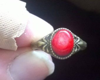 Lovely Red Coral set in a size 6 Bronze ring