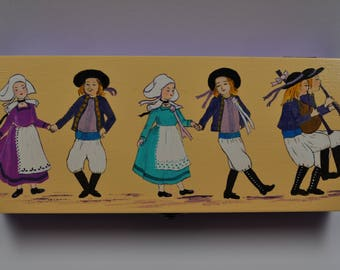 wooden box, tea or other handmade acrylic painting decor Brittany