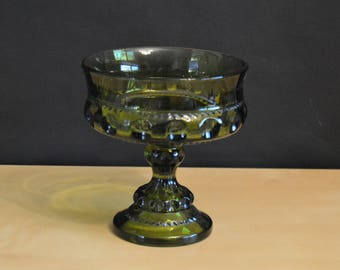 """Vintage Color Crown Green by Colony Thumbprint King's Crown Candy Dish, Compote, Nut Dish, Glass Serving Bowl, 5.25"""""""