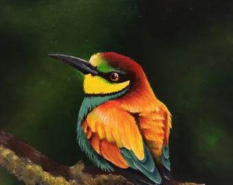 Happy little exotic bird- Original 8x10 painting- Bee Eater