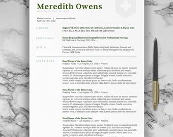 Nursing Resume Template, Best Professional Nurse Resume For Word   1 Page Resume  Template And