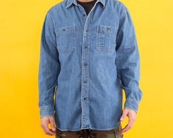 90s Shirt, Vintage Chambray, Denim Shirt, LL Bean, Chambray Shirt, Chambray, Button Up Shirts, Hipster Shirt, Mens Button Up, Medium, 90s