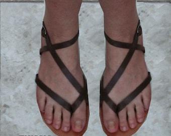 Sandals, leather sandals, Ancient sandals, summer sandals,Brown sandals,leather sandals, Greek sandals, women's sandals,Brown sandal THISSIO