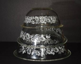 PYREX, 3 pc, Colonial Mist, White Lace, pattern, Mixing Bowls, Vintage, 1980s, Vintage Pyrex