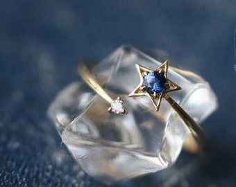 18k Diamond Ring with natural royal blue sapphire. star inspired ring. delicate ring with semi precious gemstone