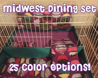Midwest Guinea Pig Cage Dining Set- 24 different patterns- Hay bag, Clean Pads, Ramp Cover