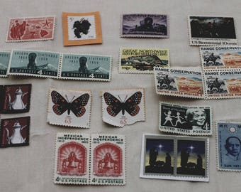 Variety of Vintage Postage Stamps