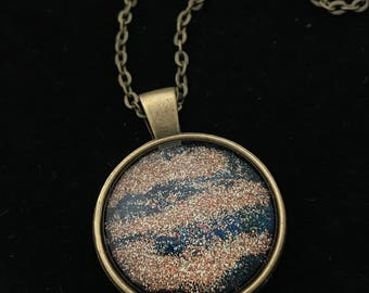 Gold Glitter Glass Pendant Necklace 006