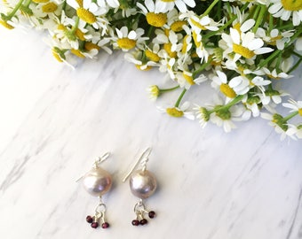 Pearl drop earrings with wire wrapped garnet