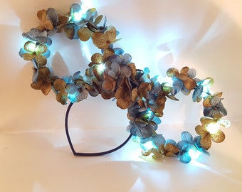 Light Up, Blue Flower, Wire, Minnie Mouse Inspired Ears