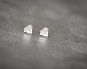 Diamond Stud Earrings - SILVER MIRROR ACRYLIC
