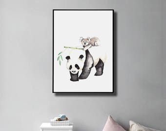 Printable Panda Art Print, Panda Gift, Couple, Panda Print, Koala, Wall Decal, Boyfriend Gift, Best Friend Gift, INSTANT DOWNLOAD