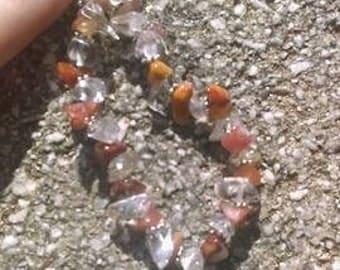 Carnelian and Clear Quartz Bracelet
