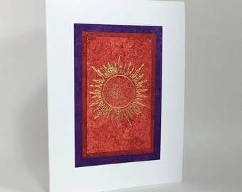 Solstice card: gilded sun on scarlet, individually handmade, hand painted, not printed, happy solstice, A2, holiday cards, SKU SOA21010
