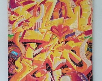 Original Graffiti Art Canvas Water Based Markers 'Follow The Lines'