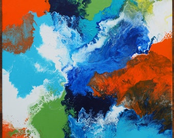 ABLAZE- Fluid acrylic abstract painting. Bright and colourful handmade original art. Ready to hang.