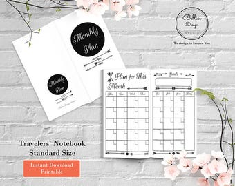 Boho Planner, TN Standard Insert Planner, Undated Monthly Planner, Month on Two Pages, Journal Printable, Standard Travelers Notebook