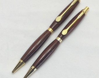 Cocobolo Handcrafted Wood Pen & Pencil Set with Tennis Racket Clip #101 w/ Box