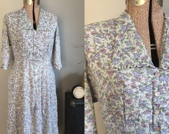 1940s Floral Rayon Day Dress