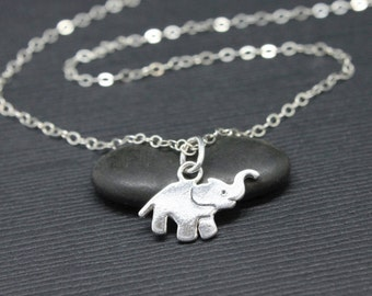 Tiny elephant necklace, 925 Sterling Silver elephant, you are stronger than you believe, strength necklace, gift for her, dainty jewelry