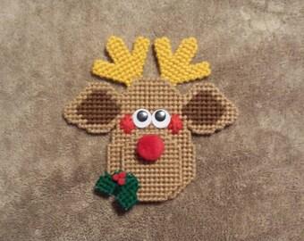 Handmade Finished Reindeer Christmas Magnet