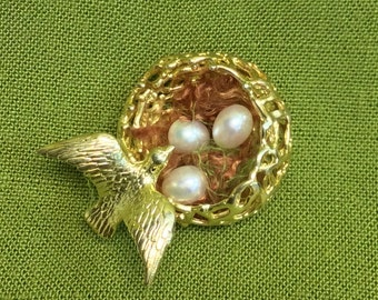Gold Plated Sterling Silver Bird's Nest with Fresh Water Pearl Eggs can be worn as a pendant