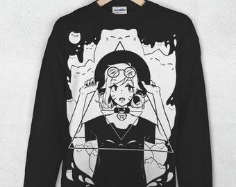 Neko Necromancer Jumper [Anime Cat Shirt Harajuku Kawaii Clothing]