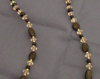 """Obsidian / black and gold glass necklace 22"""""""
