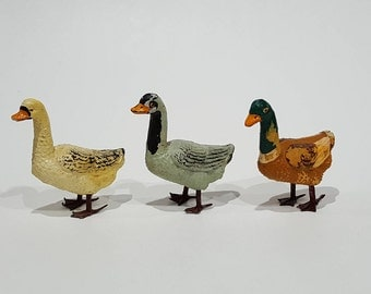 3 Composition Geese/Duck- Christmas or German Putz Figurines - 2 Marked Italy - Very Good Condition in White, Grey, and Brown/Mallard