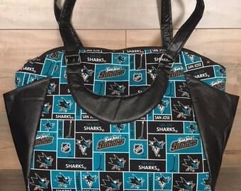 Annette Commuter Tote, San Jose Sharks, Large Handbag, Satchel, Swoon, Travel Bag, Diaper Bag, Over Night Bag, Work Bag, Handbag