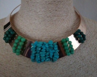 Torque shoker natural turquoise necklace