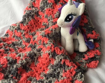 baby afghan/blanket pink and gray