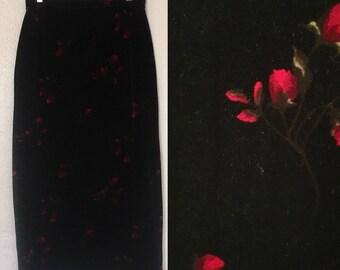 Vintage Velvety Rose Print High Waisted Maxi Skirt