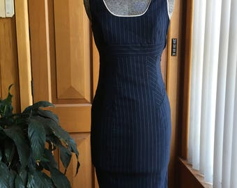 Cue blue and white pinstripe pencil dress- size 6
