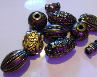 10 gold metal beads assortment various sizes