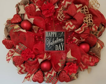 Valentine Burlap Door Wreath, Valentine Burlap Wreath, Burlap Valentine Wreath, Rustic Valentine Wreath, Valentine Decor, Valentine Wreathe