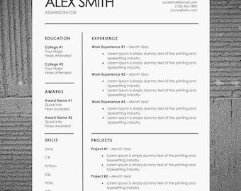 Minimal Resume/CV Template | Modern Resume and Cover Letter | Word Resume | College Resume | Simple Design | Easy Edit | Professional Resume