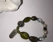 Boho Green Pearl Faith Stretch Bracelet