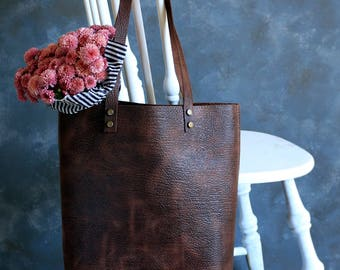 Tote bag Tote bag with pockets Tall  tote bag  Dark Brown waxed distressed structured leather Hand stitched leather Tote full grain leather