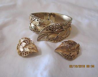 Trifari Crown Gold Tone Bracelet and Clip-On Earring Set